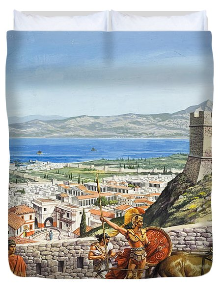 Ancient Corinth Duvet Cover by Roger Payne