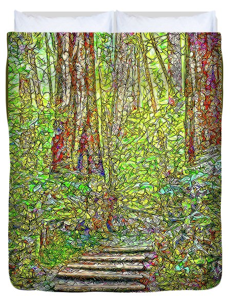 Duvet Cover featuring the digital art Ancient Forest Path - Tamalpais California by Joel Bruce Wallach
