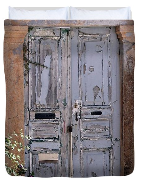 Ancient Garden Doors In Greece Duvet Cover
