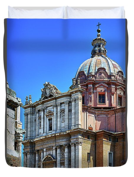 Duvet Cover featuring the photograph Ancient Government Building At The Roman Forum by Eduardo Jose Accorinti