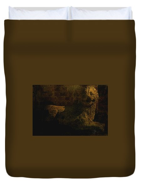Duvet Cover featuring the photograph Ancient Lion In Cyprus by Jim Vance