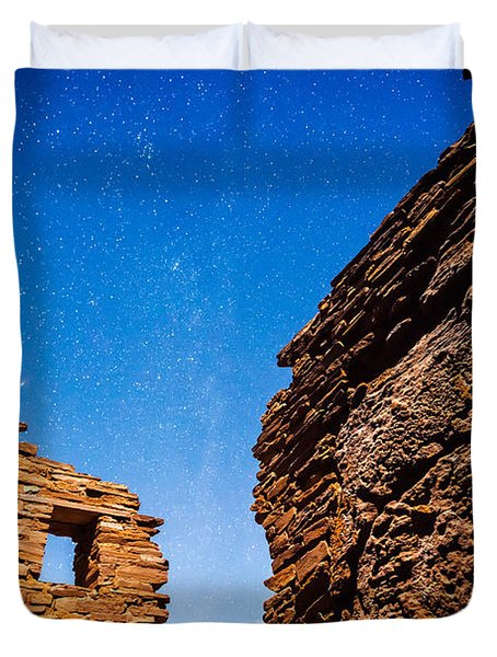 Ancient Native American Pueblo Ruins And Stars At Night Duvet Cover