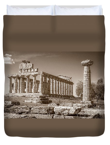 Ancient Paestum Architecture Duvet Cover