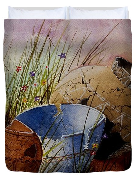 Ancient Relics A Paint Along With Jerry Yarnell' Study. Duvet Cover