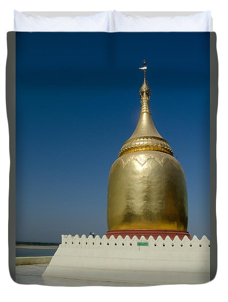 Duvet Cover featuring the photograph Ancient Riverside Stupa Along The Irrawaddy River In Burma by Jason Rosette
