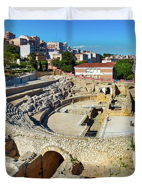 Duvet Cover featuring the photograph Ancient Roman Amphitheater In Spain by Eduardo Jose Accorinti