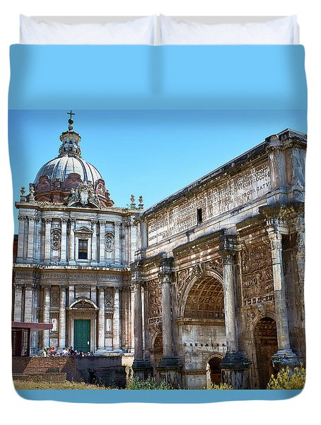 Duvet Cover featuring the photograph Ancient Ruins At The Roman Forum by Eduardo Jose Accorinti
