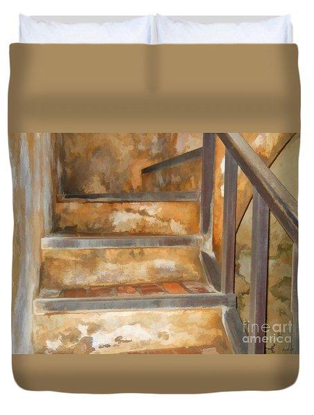 Ancient Stairway Duvet Cover by Roberta Byram