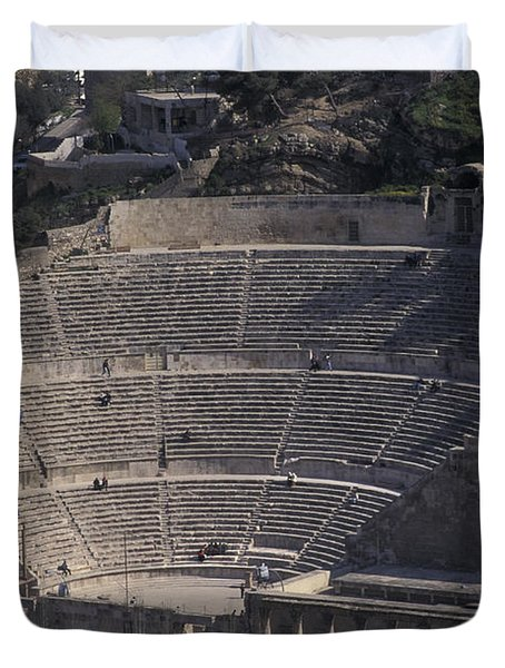 Ancient Theater In Ancient Roman City Duvet Cover
