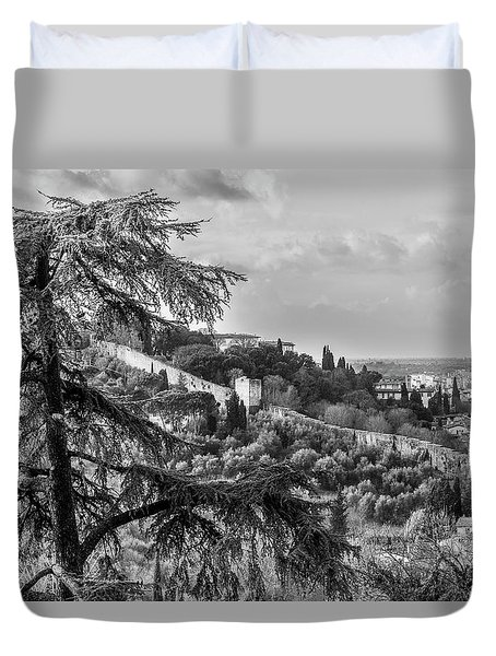 Duvet Cover featuring the photograph Ancient Walls Of Florence-bandw by Sonny Marcyan