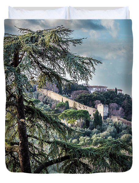 Duvet Cover featuring the photograph Ancient Walls Of Florence by Sonny Marcyan