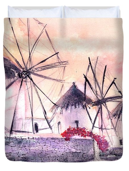 Ancient Windmills Of Mykonos Greece Duvet Cover