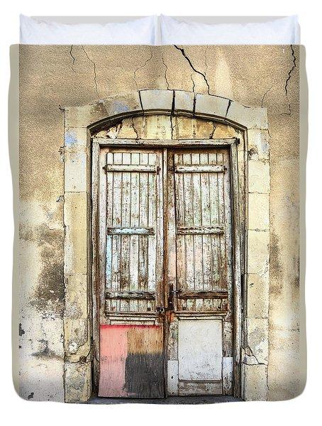 Ancient Wooden Door In Old Town. Limassol. Cyprus Duvet Cover