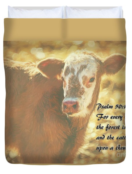 And The Cattle Duvet Cover by Janice Rae Pariza