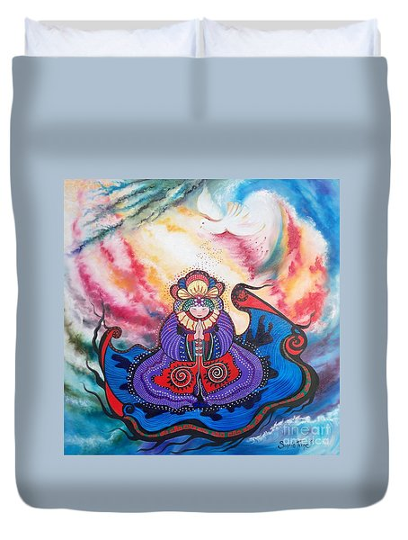 Duvet Cover featuring the painting And We Pray by Sigrid Tune