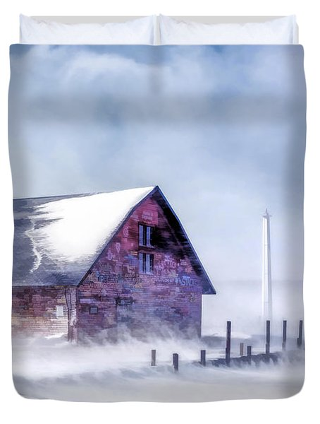 Duvet Cover featuring the painting Anderson Dock Winter Storm by Christopher Arndt