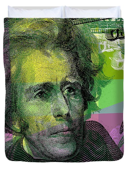 Duvet Cover featuring the digital art Andrew Jackson - $20 Bill by Jean luc Comperat