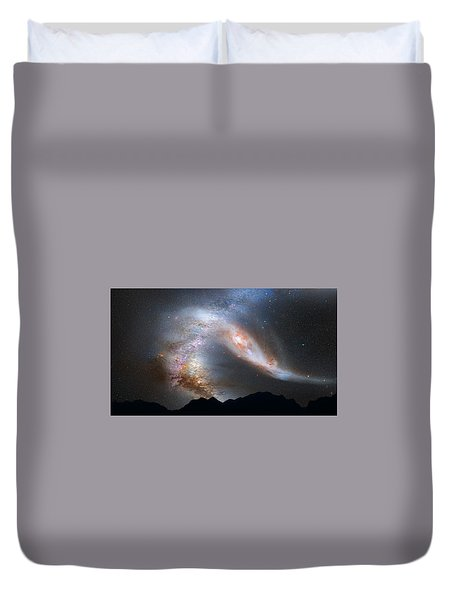 Duvet Cover featuring the pyrography Andromeda-galaxy by Artistic Panda