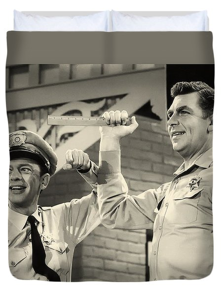 Andy Griffith And Don Knotts 1970 Duvet Cover