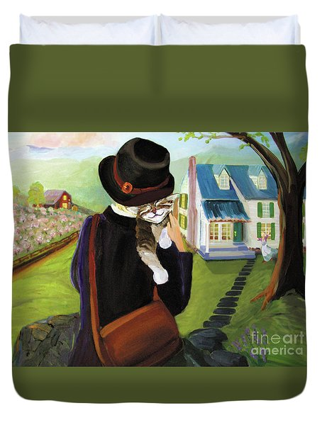 Duvet Cover featuring the painting Andy's Home by Donna Hall