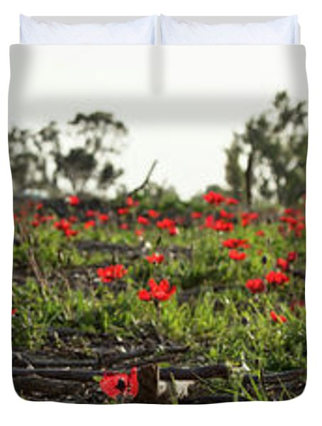 Anemones Forest Panorama Duvet Cover