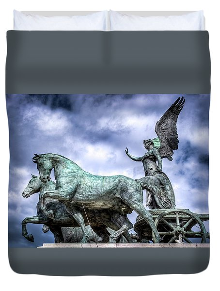 Duvet Cover featuring the photograph Angel And Chariot With Horses by Sonny Marcyan