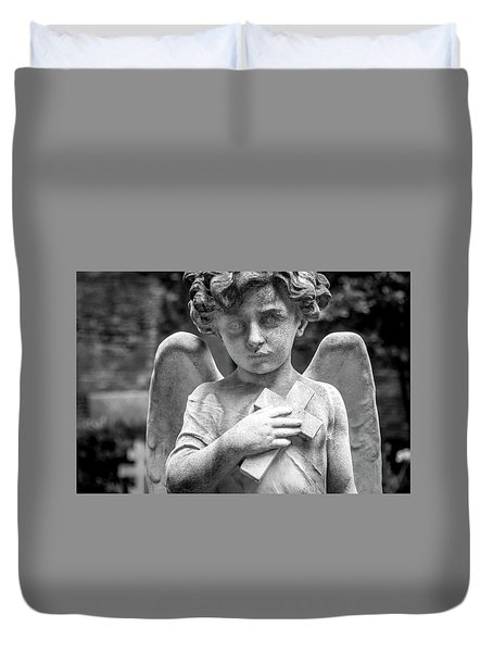 Duvet Cover featuring the photograph Angel And Cross by Sonny Marcyan