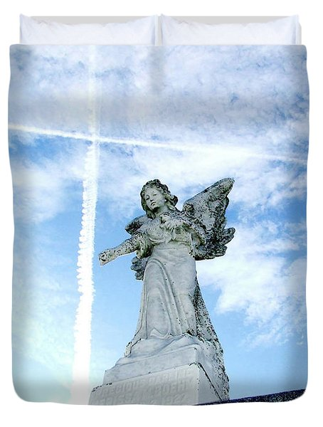 Angel And Crosses Duvet Cover
