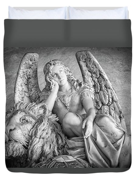 Duvet Cover featuring the photograph Angel And Lion by Sonny Marcyan