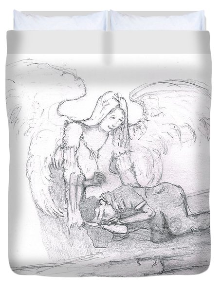 Angel And The Man Duvet Cover
