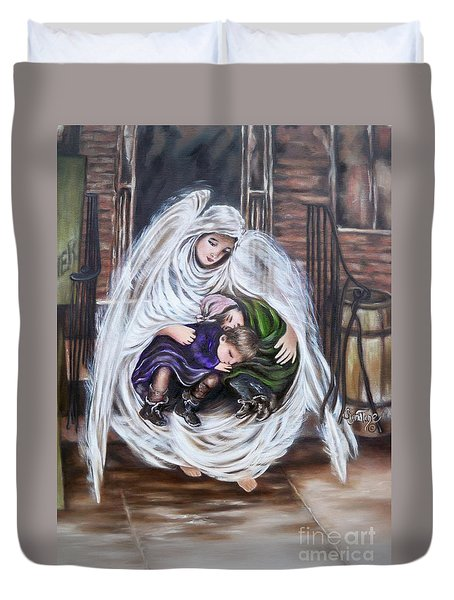 Flying Lamb Productions.        Angel And The Orphans Duvet Cover