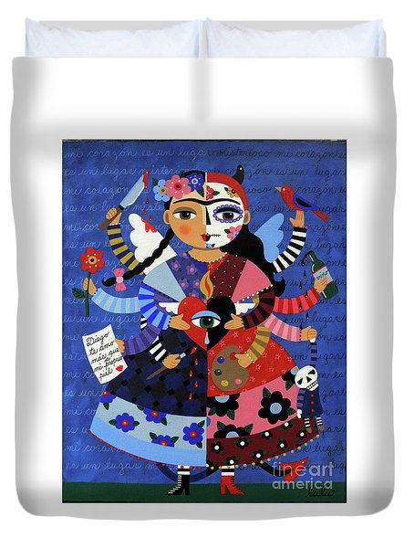 Duvet Cover Featuring The Painting Angel Devil 10 Arm Frida Kahlo By LuLu Mypinkturtle