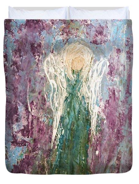Angel Draped In Hydrangeas Duvet Cover