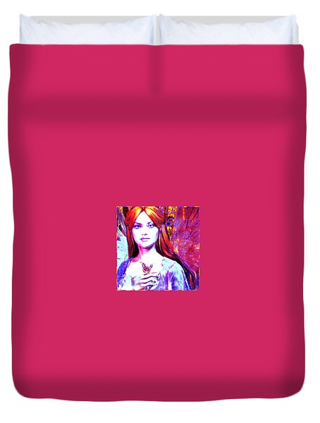 Duvet Cover featuring the painting Angel For All Souls Day by Suzanne Silvir
