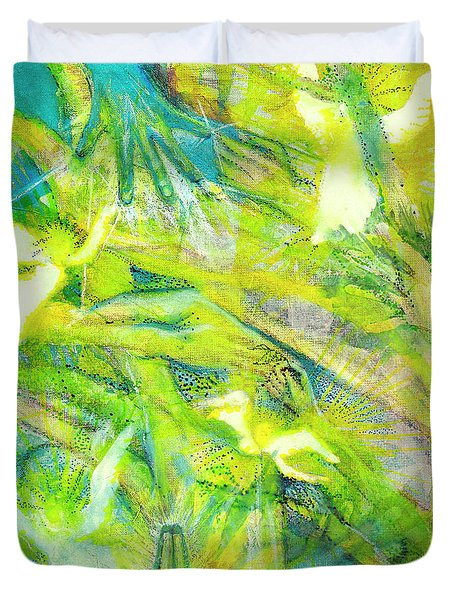 Duvet Cover featuring the painting Angel Forest by Kym Nicolas