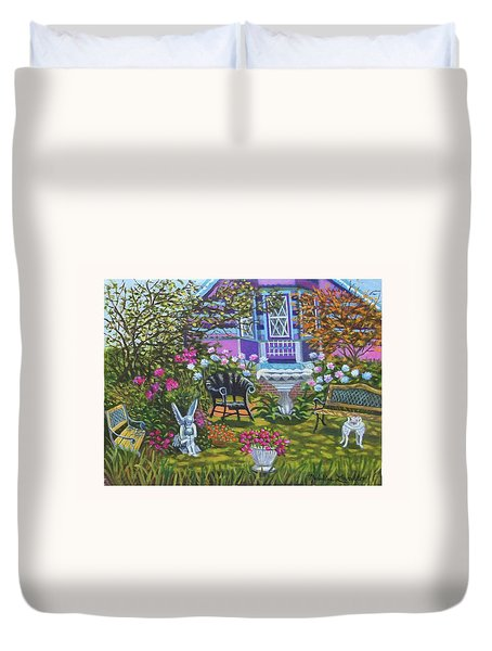 Angel Garden In Ocean Grove Duvet Cover