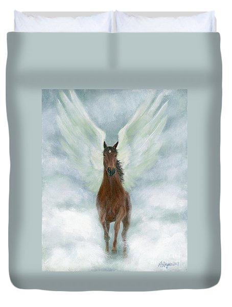 Angel Horse Running Free Across The Heavens Duvet Cover