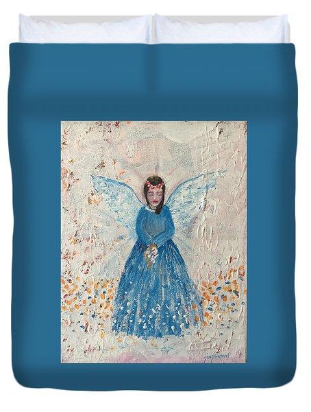 Angel In Blue Duvet Cover by Jun Jamosmos