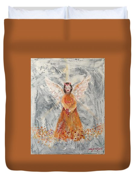 Angel In Orange Duvet Cover by Jun Jamosmos