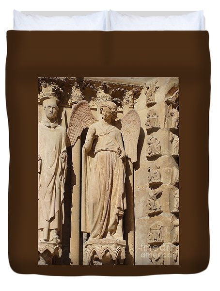 Angel In Reims Duvet Cover