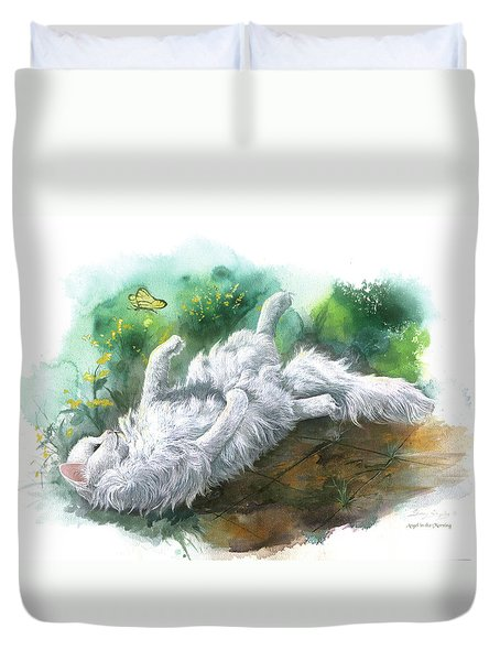 Duvet Cover featuring the painting Angel In The Morning by Sherry Shipley