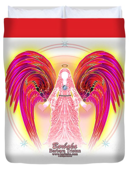 Duvet Cover featuring the digital art Angel Intentions Divine Timing by Barbara Tristan