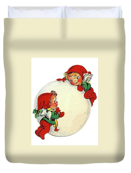 Angel Kids With Big Snowball Duvet Cover