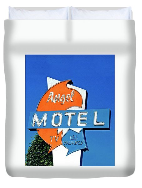 Duvet Cover featuring the photograph Angel Motel by Matthew Bamberg