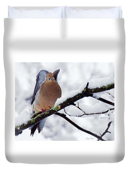 Duvet Cover featuring the photograph Angel Mourning Dove by Angel Cher