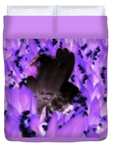 Duvet Cover featuring the photograph Angel Negative by Steven Clipperton