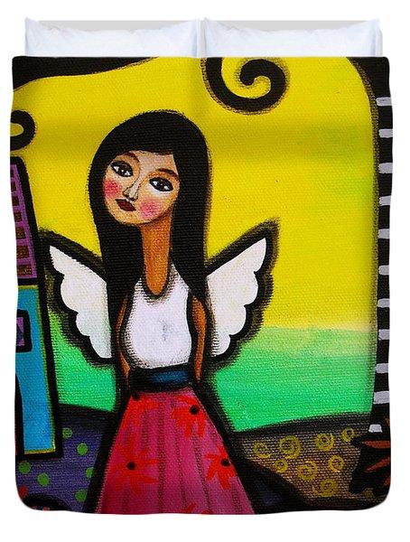 Angel Nilda Duvet Cover by Pristine Cartera Turkus