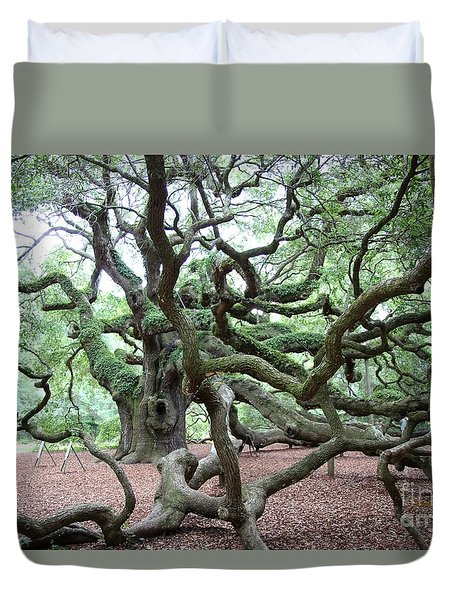 Duvet Cover featuring the photograph Angel Oak 1 by Dodie Ulery