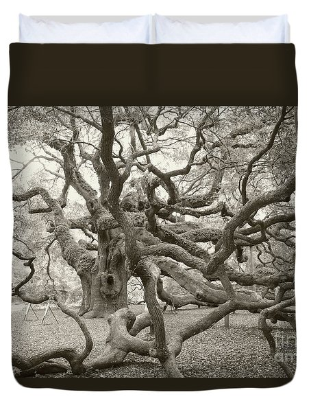 Duvet Cover featuring the photograph Angel Oak Antiqued by Dodie Ulery