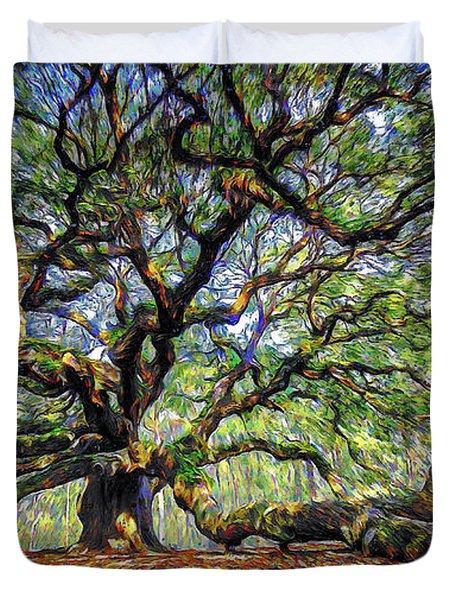 Angel Oak In Digital Oils Duvet Cover